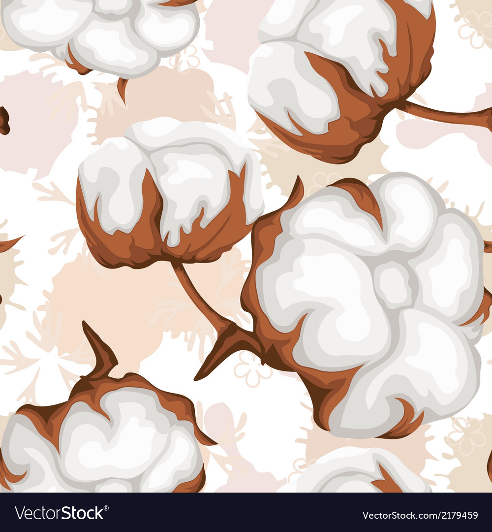 Cotton buds branch seamless pattern vector