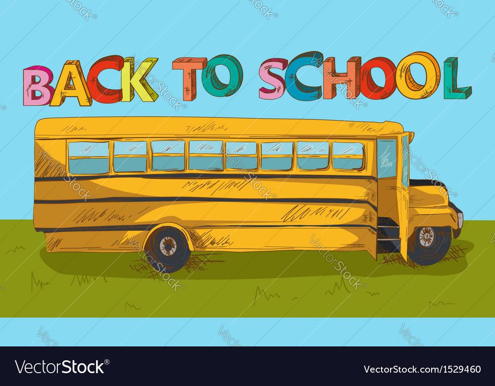 Back to school text colorful school bus cartoon vector