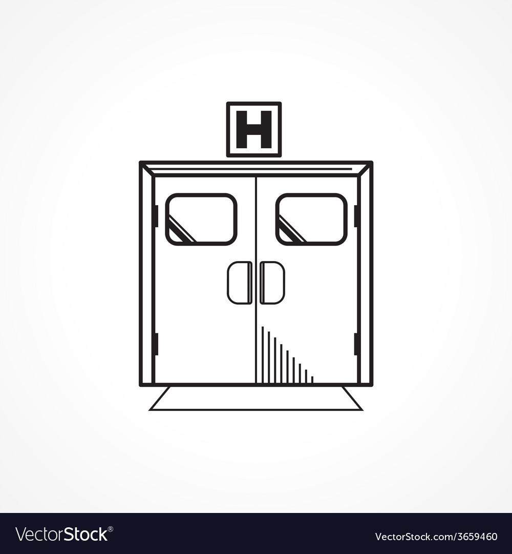 Black line icon for hospital entrance door vector