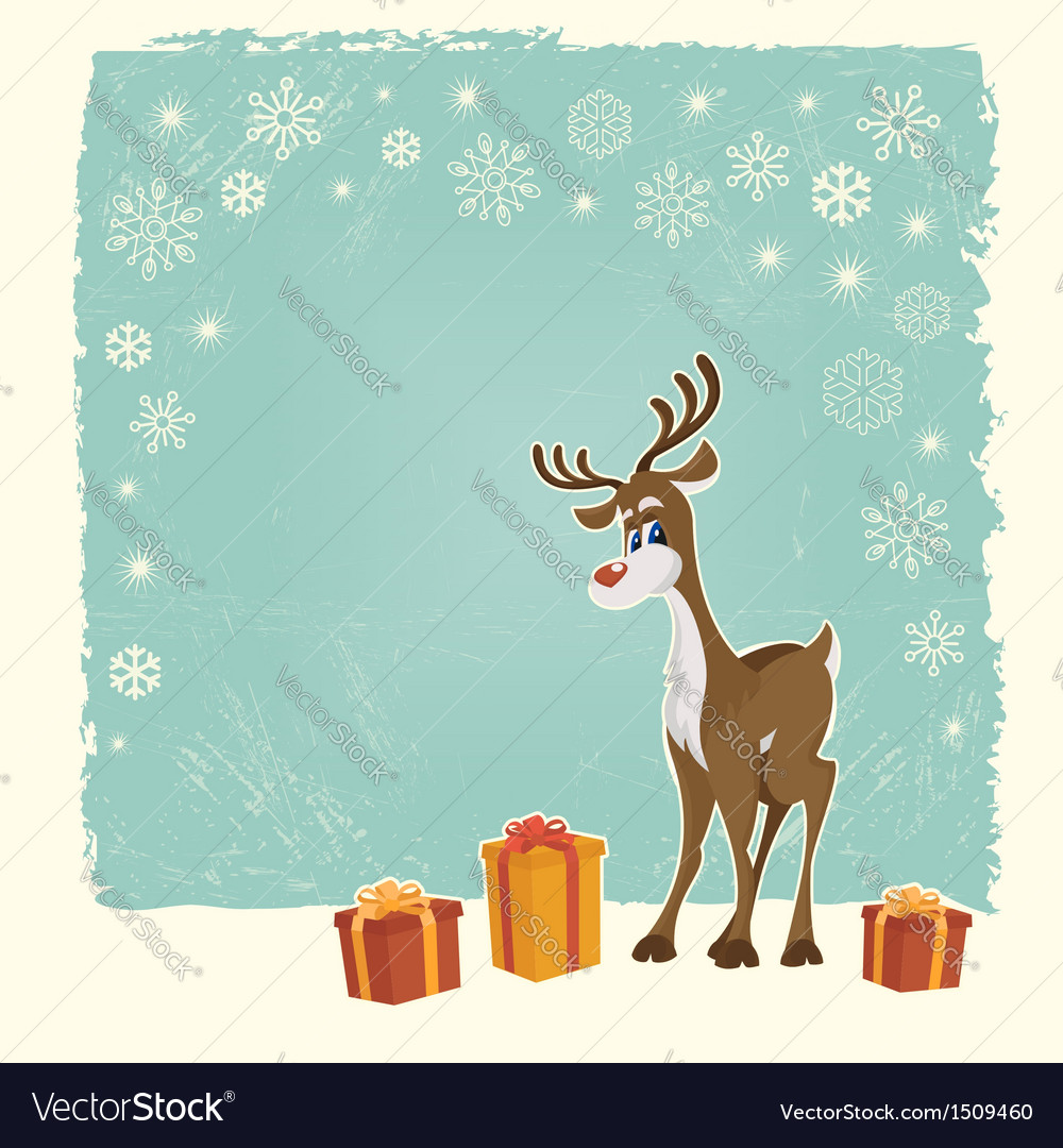 Retro christmas card with reindeer vector