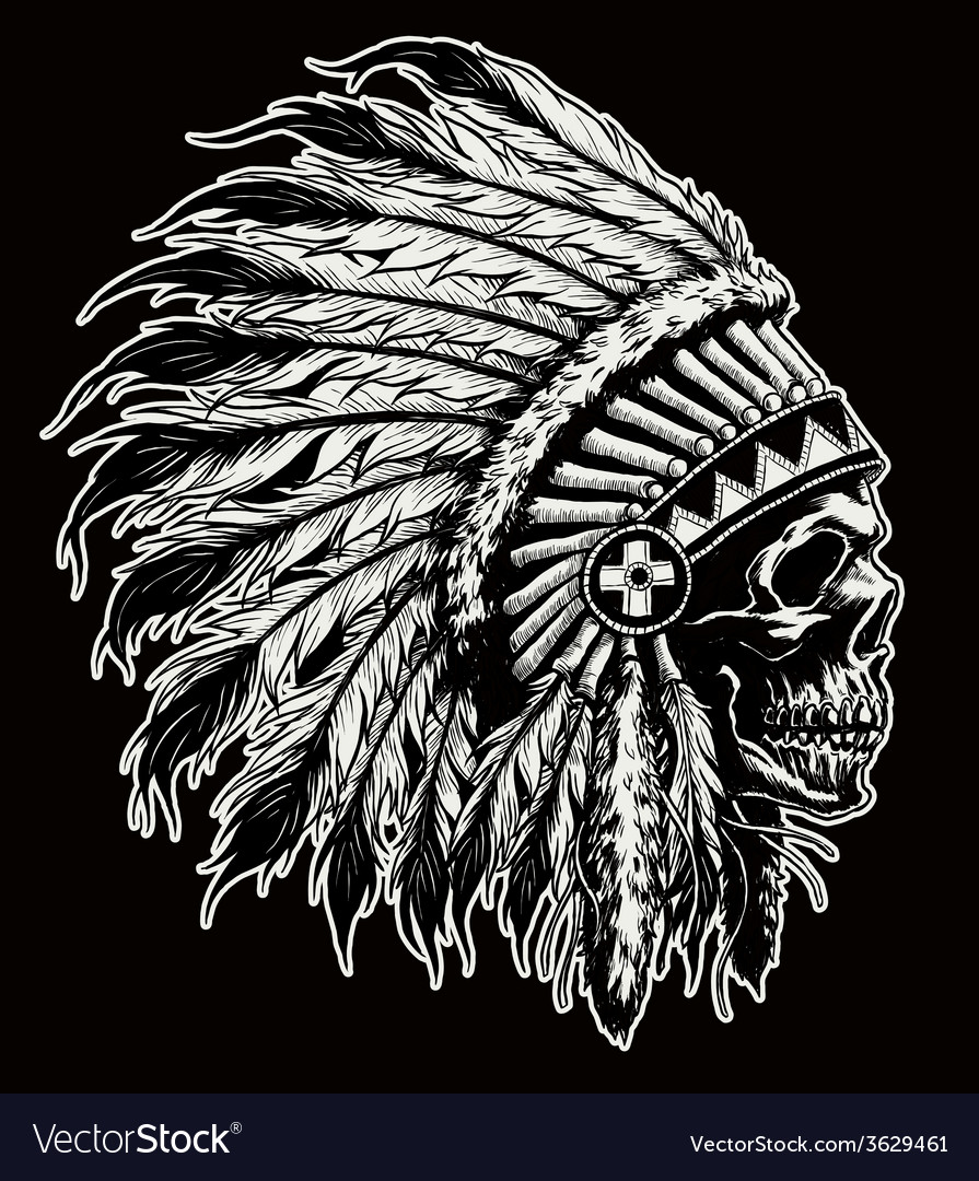 One color indian skull vector