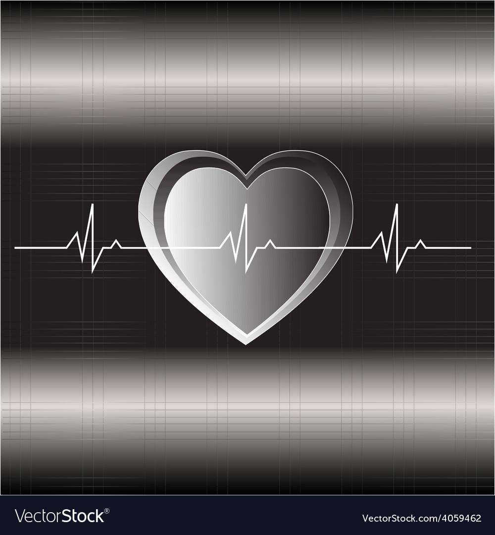 Metallic heart beat vector