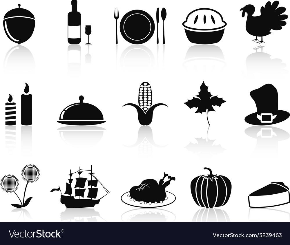 Black thanksgiving icons set vector