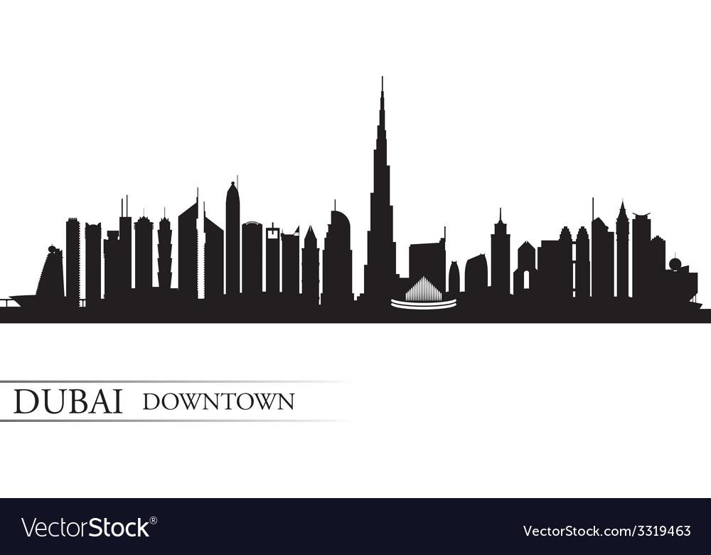 Dubai downtown city skyline silhouette background vector