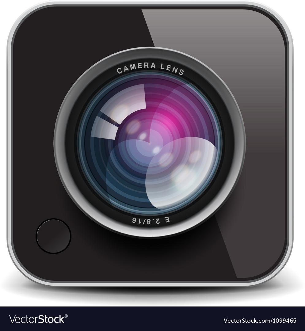Color photo camera icon vector