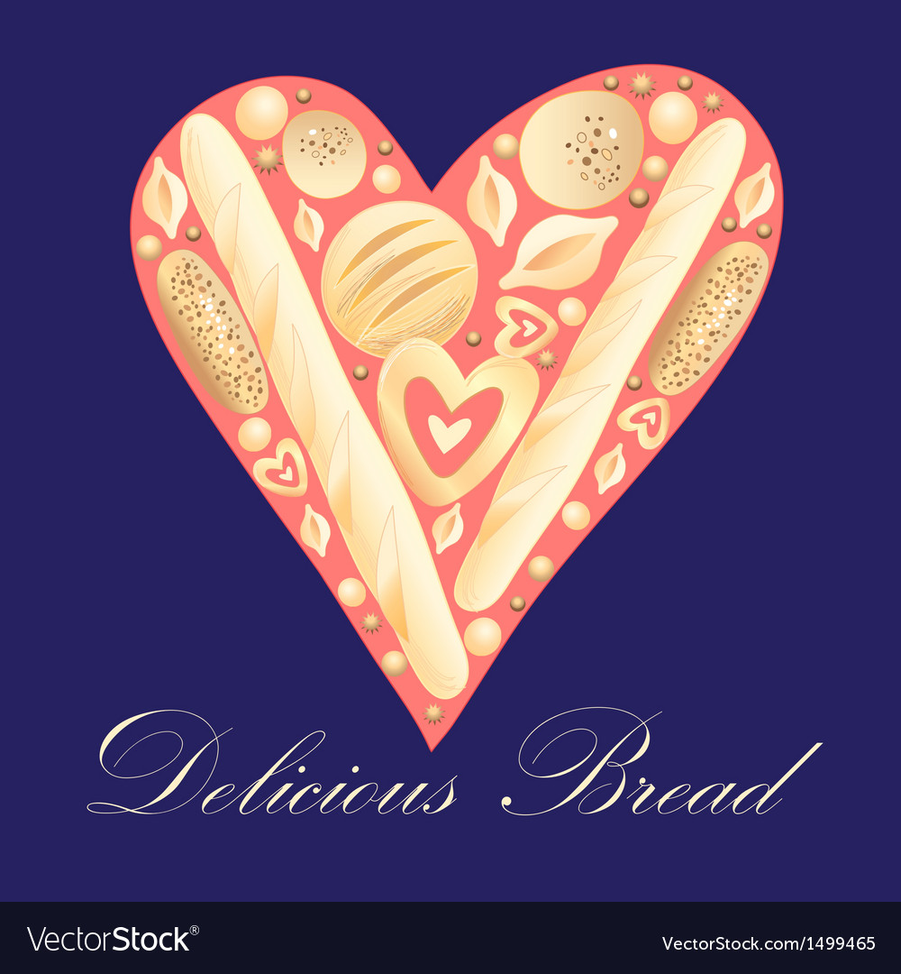 Heart bread vector