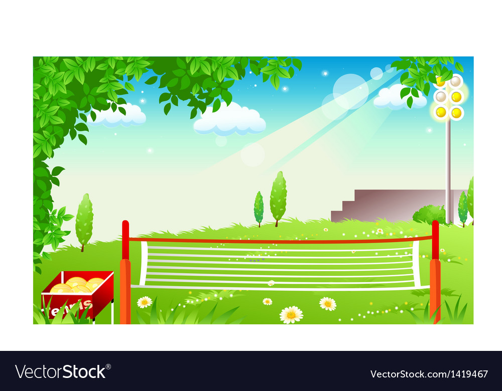 Grass tennis court vector