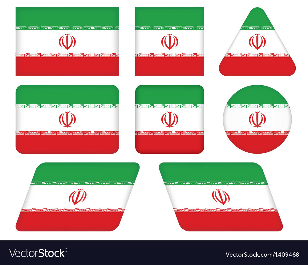 Buttons with flag of iran vector