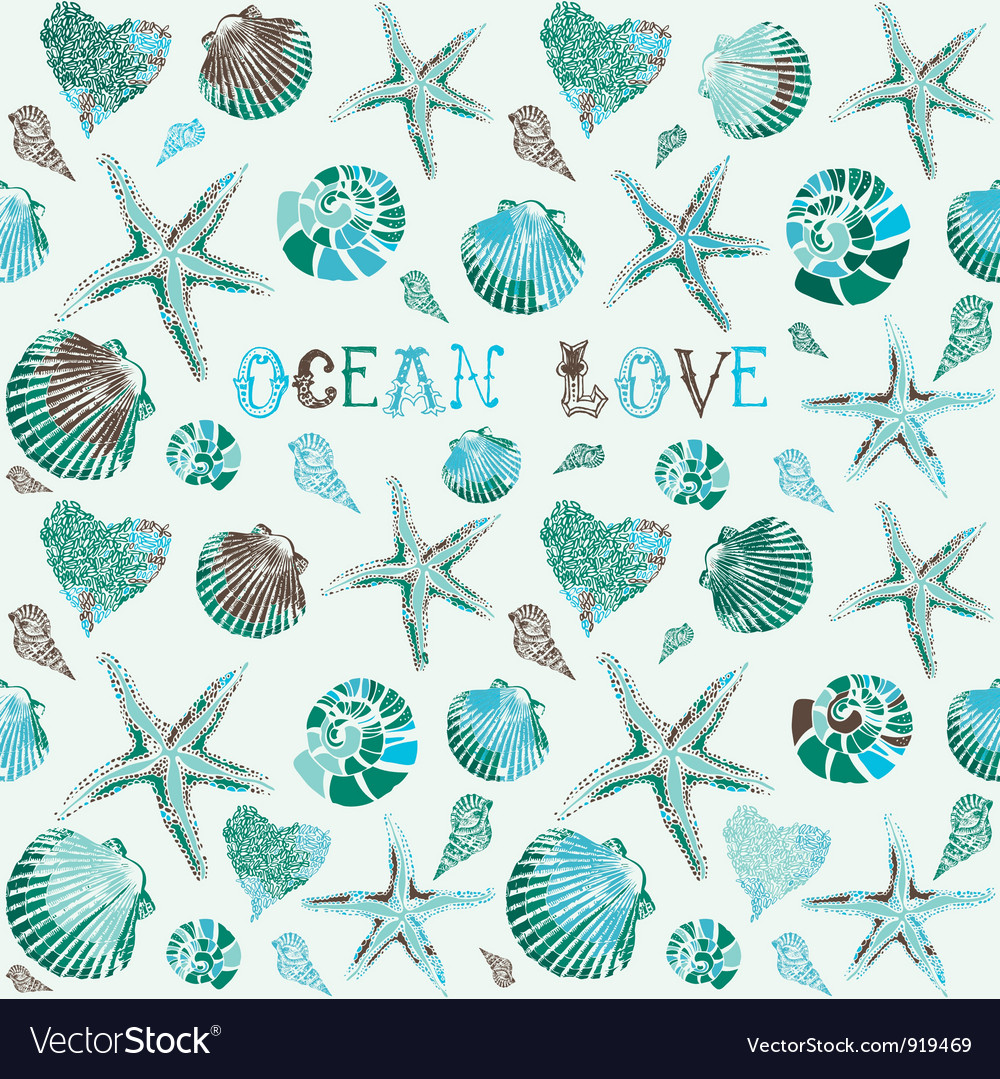 Seashells ocean love background vector