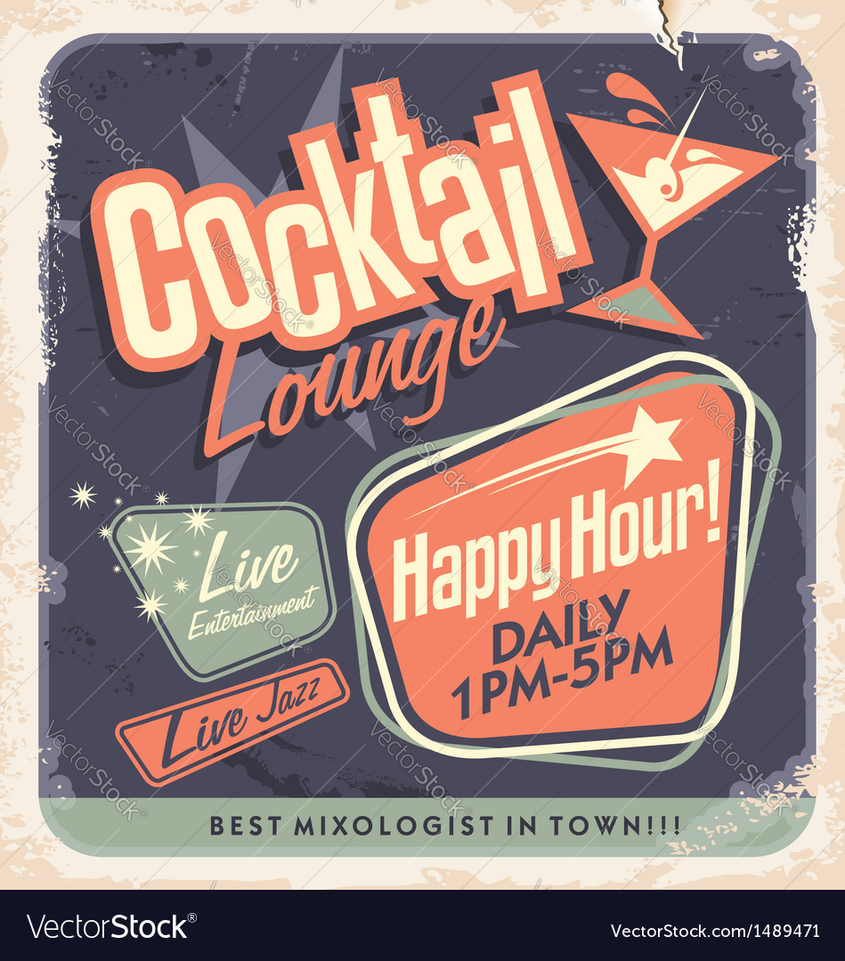 Retro poster design for cocktail lounge vector