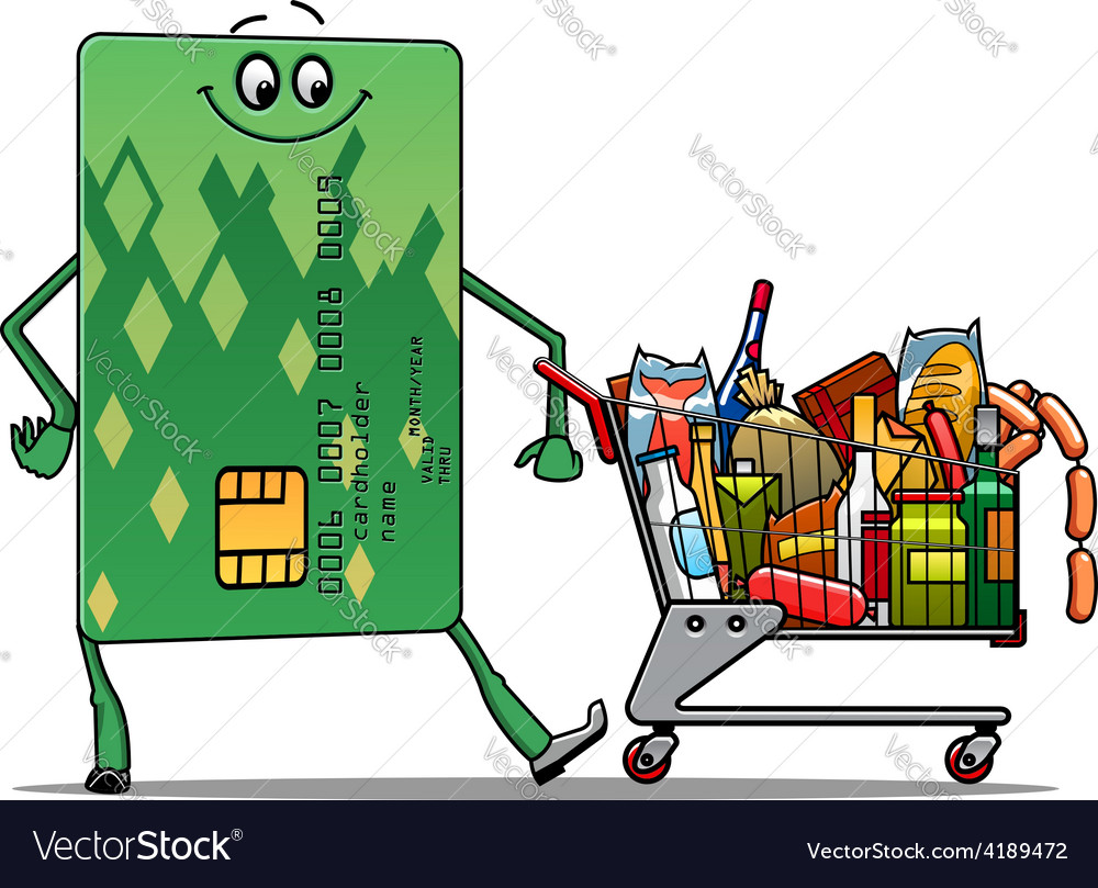 Credit card doing the grocery shopping vector