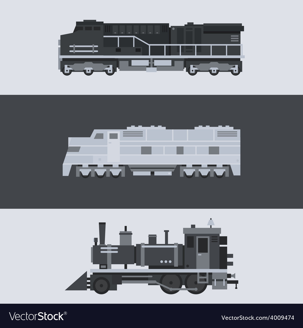 Flat design of train locomotive set vector