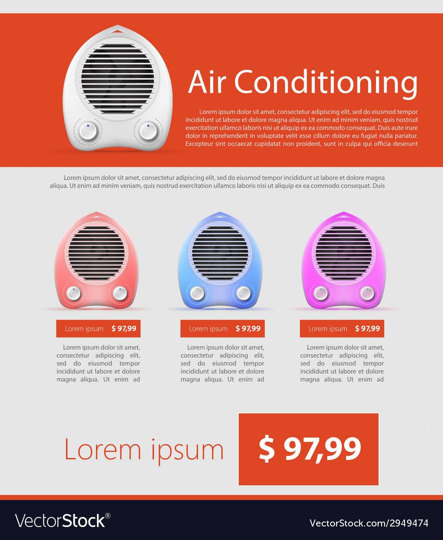 Flat minimalist template business design heater vector