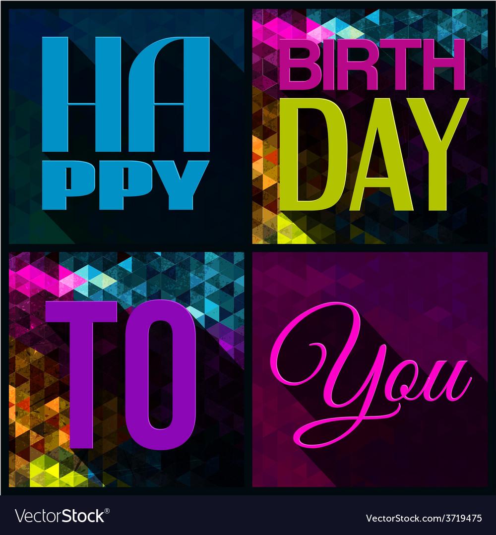 Birthday card with text on triangular vector