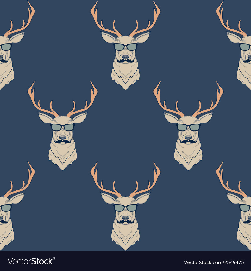 Seamless pattern with hipster deer wearing vector