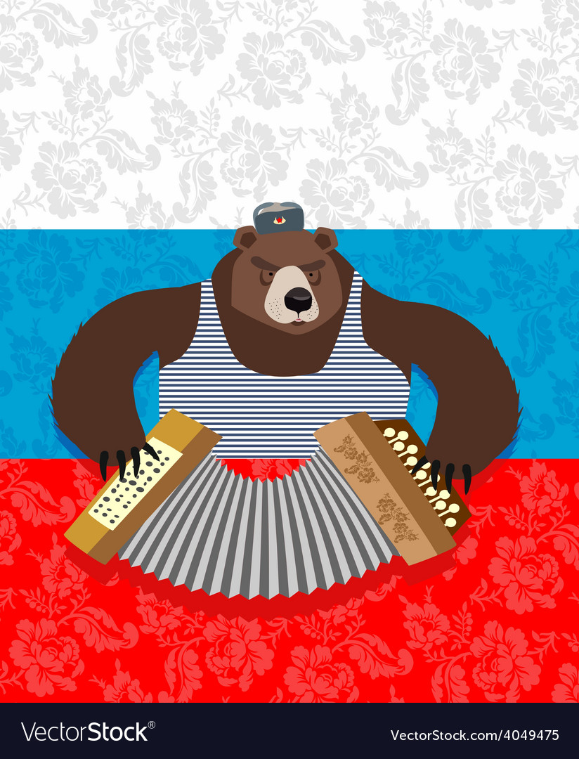 Traditional bear russia russian pattern background vector