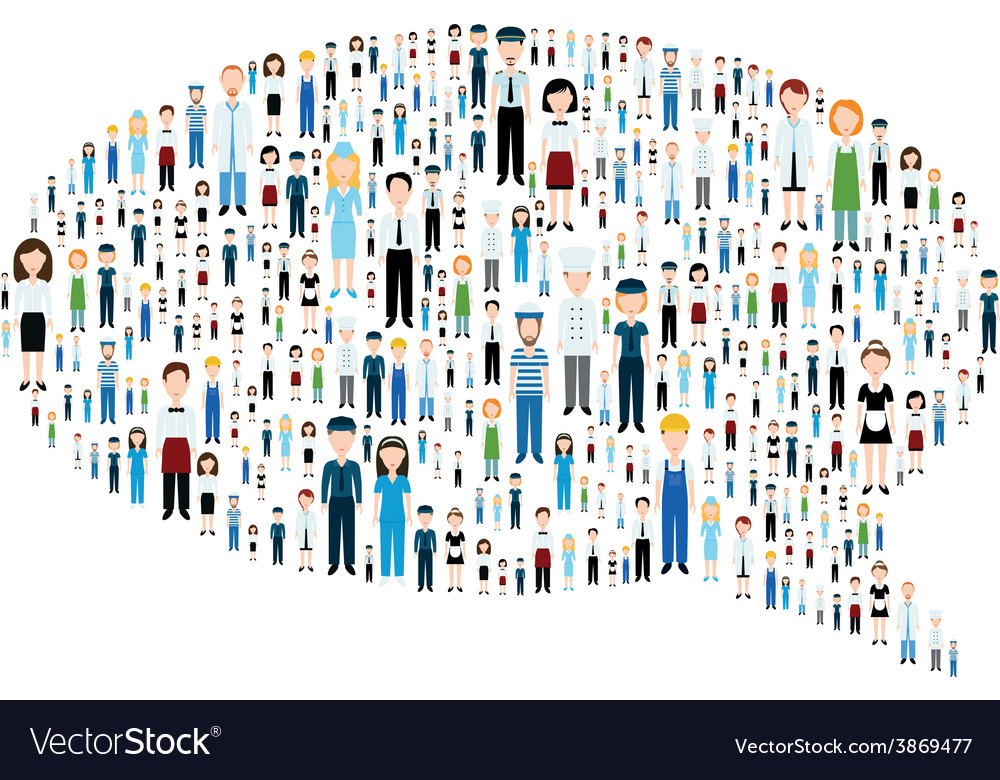 Communication bubble with people vector