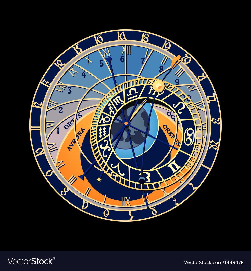 Astronomical clock vector