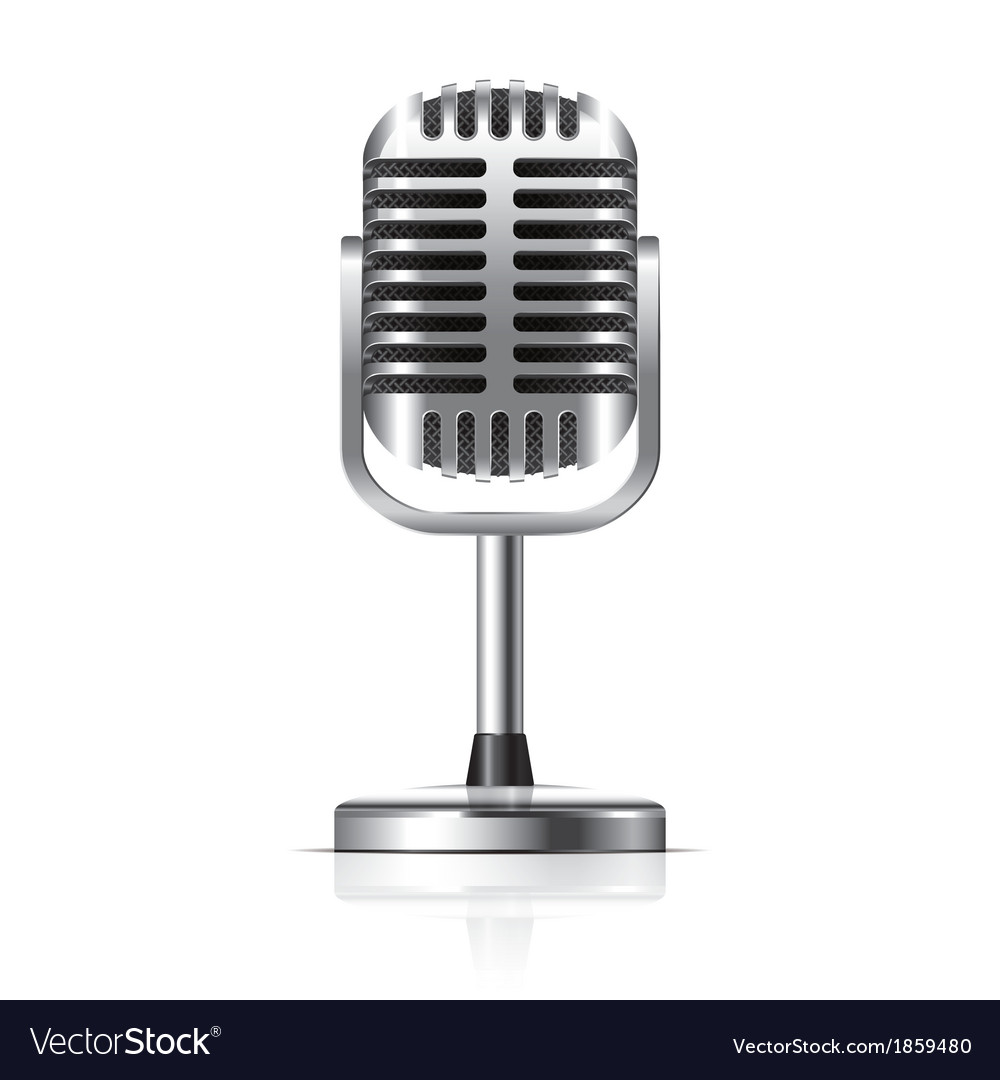 Object retro microphone vector