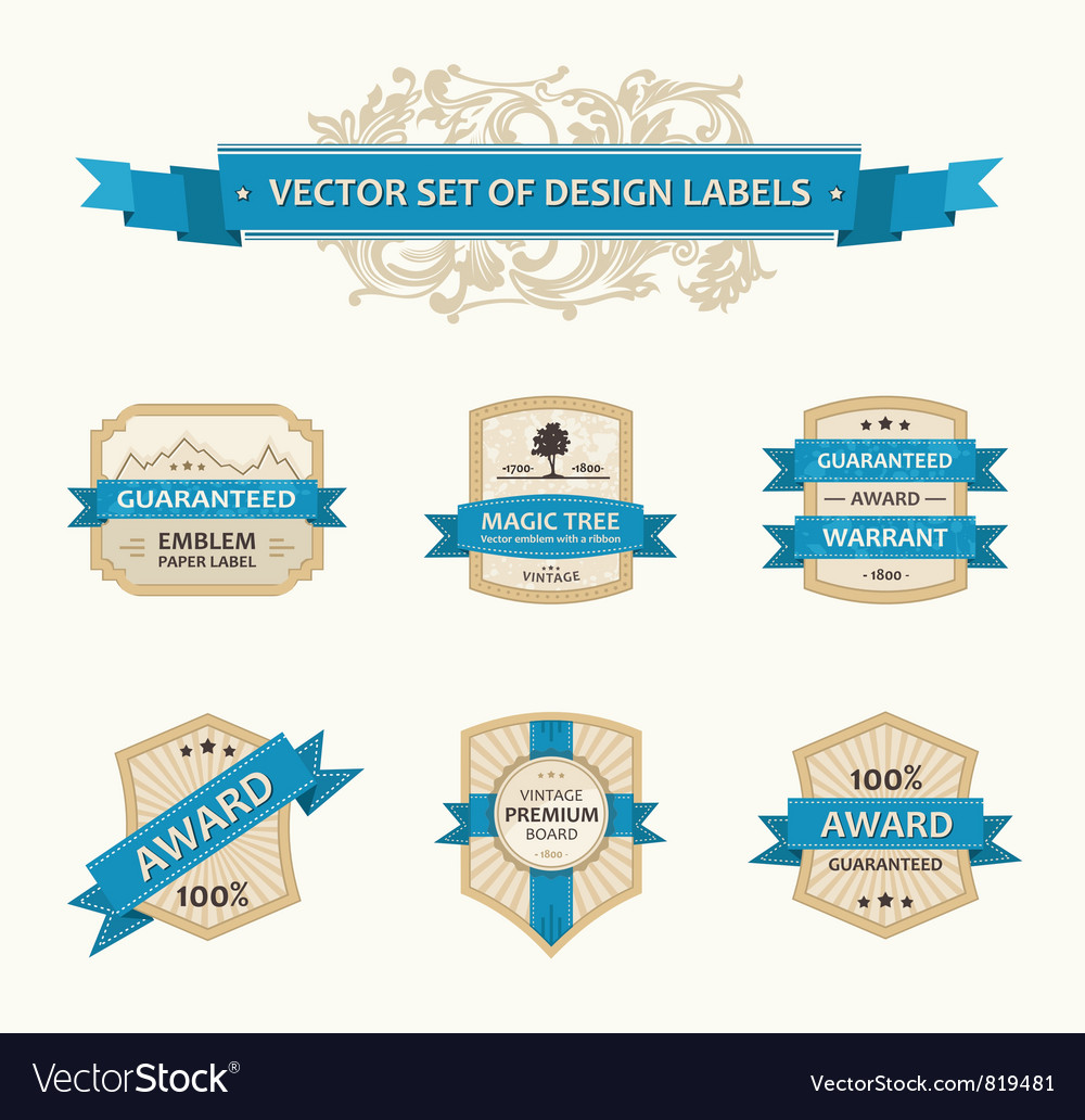 Set vintage ornate decor vector