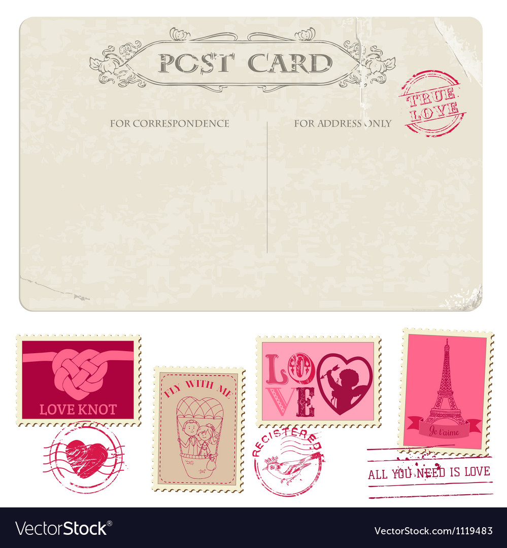 Vintage postcard and postage stamps - for wedding vector