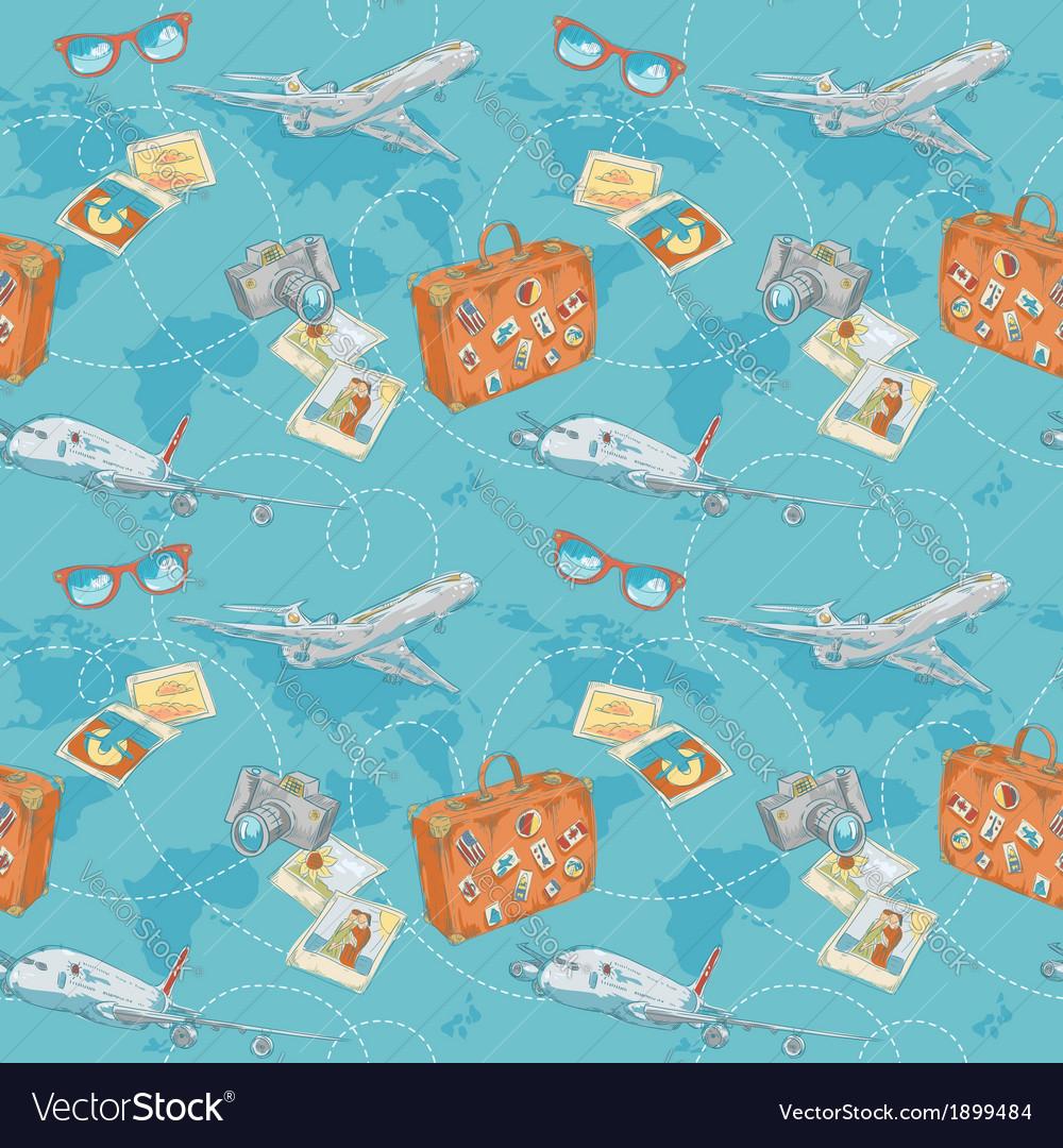 Travel seamless pattern vector