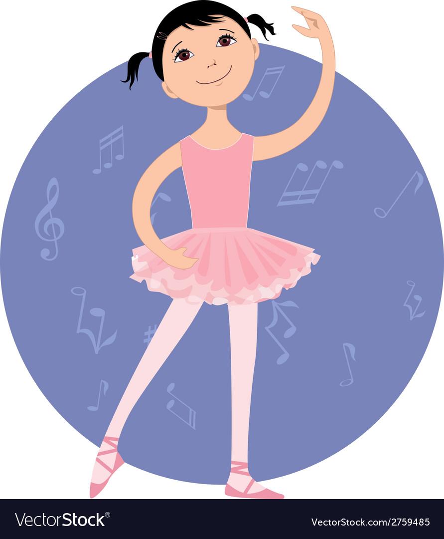 Cute little ballet dancer vector