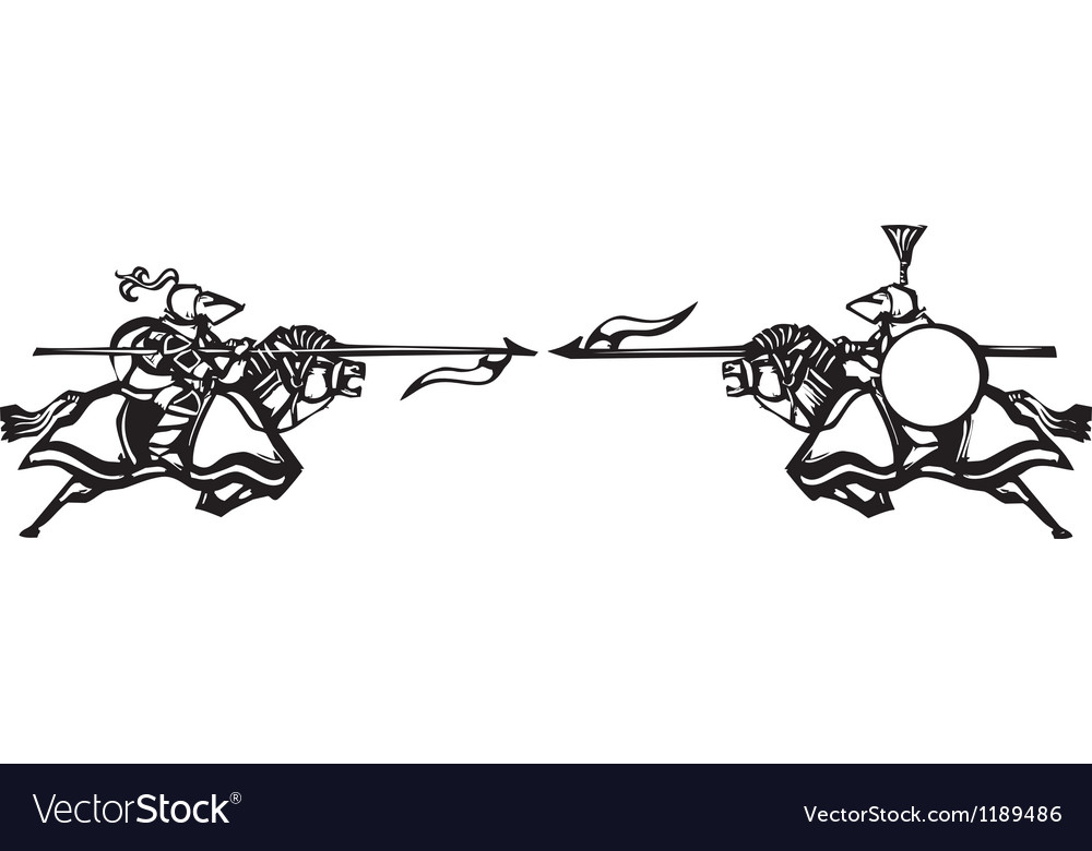 Knights jousting vector