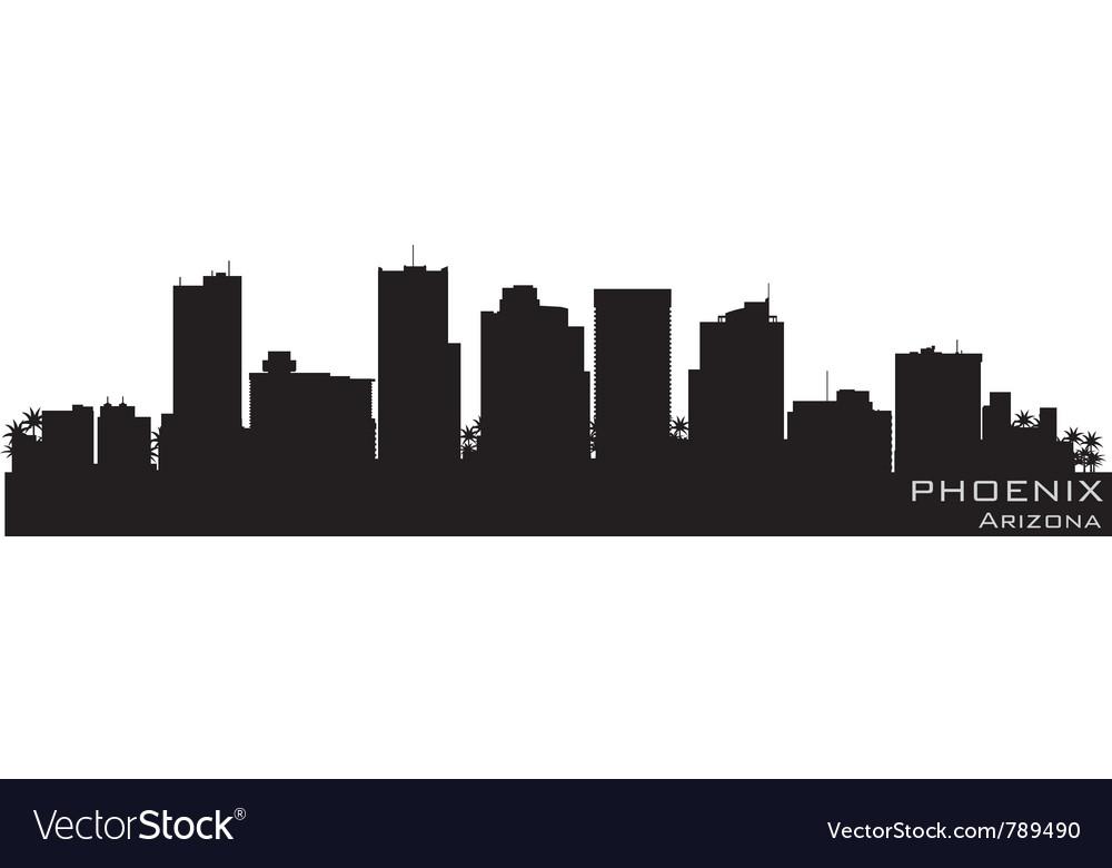 Phoenix arizona skyline detailed silhouette vector