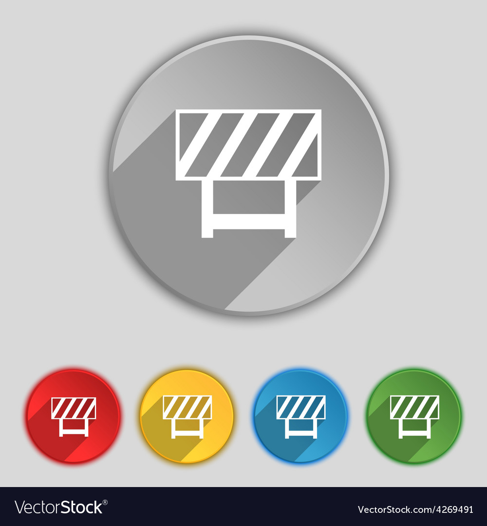 Road barrier icon sign symbol on five flat buttons vector