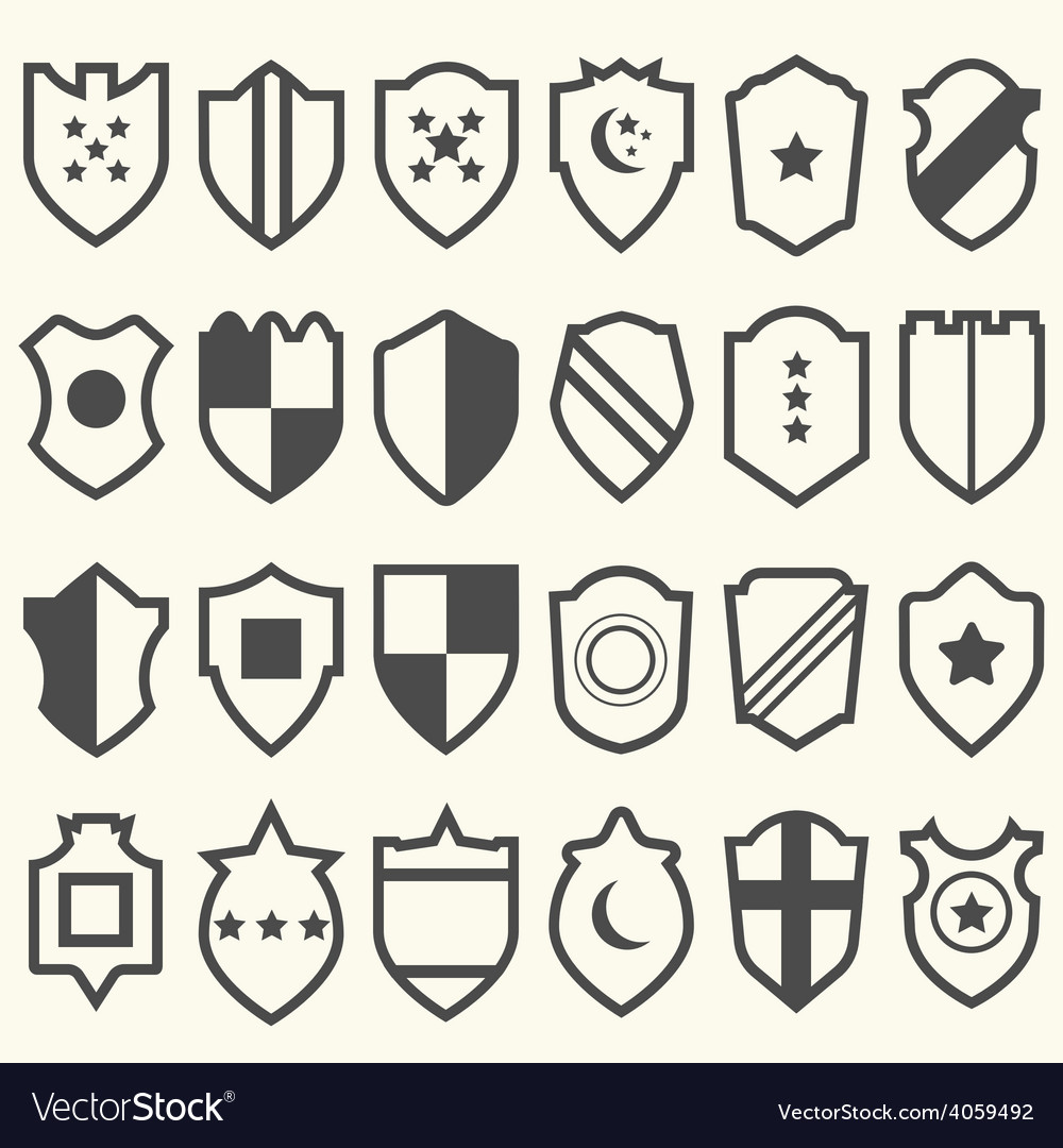 Set of shield icons with symbols vector