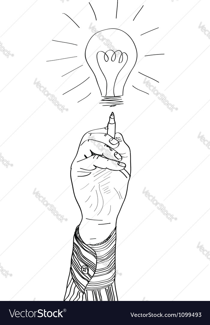 Hand drawing lightbulb vector
