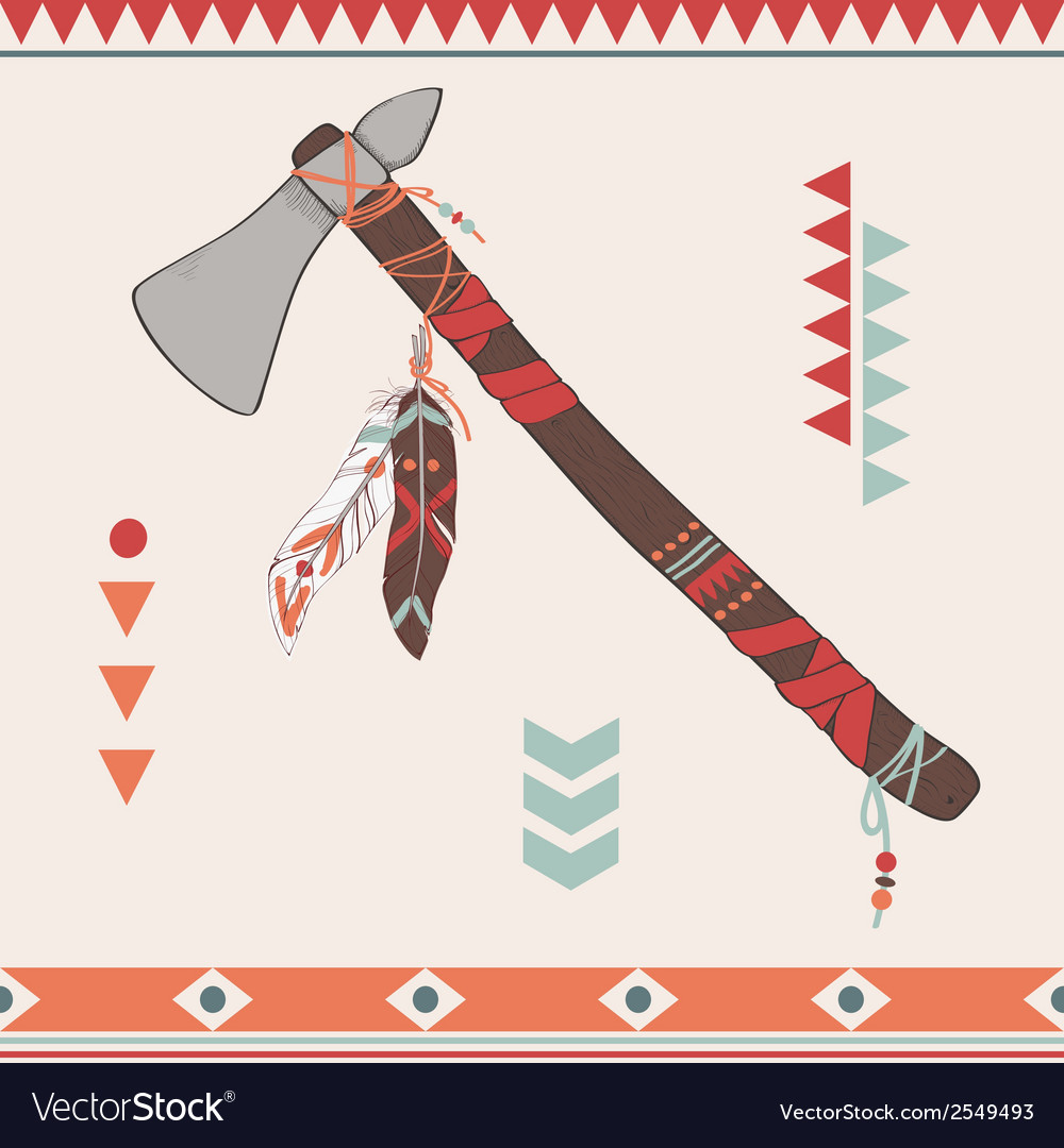 Native american indian tomahawk vector