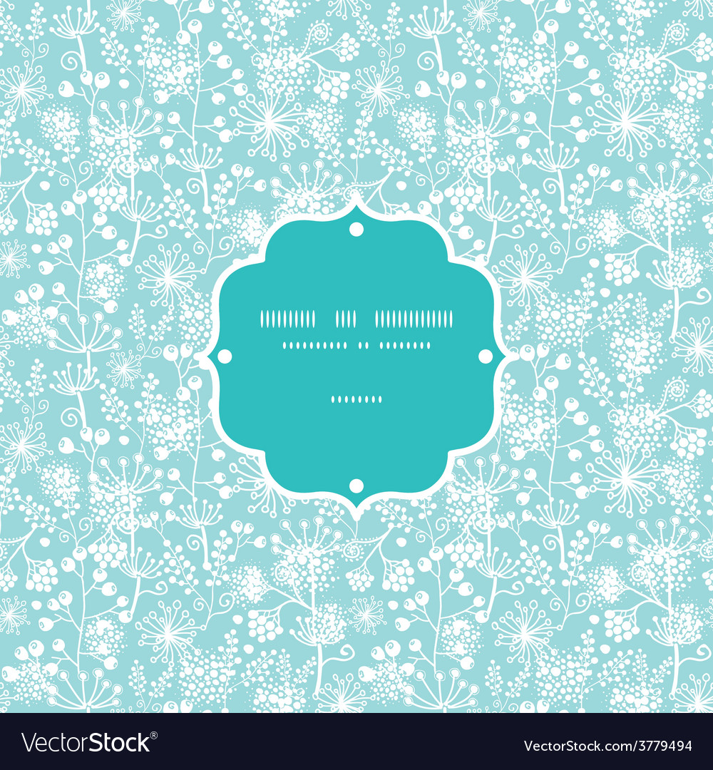 Blue and white lace garden plants frame vector