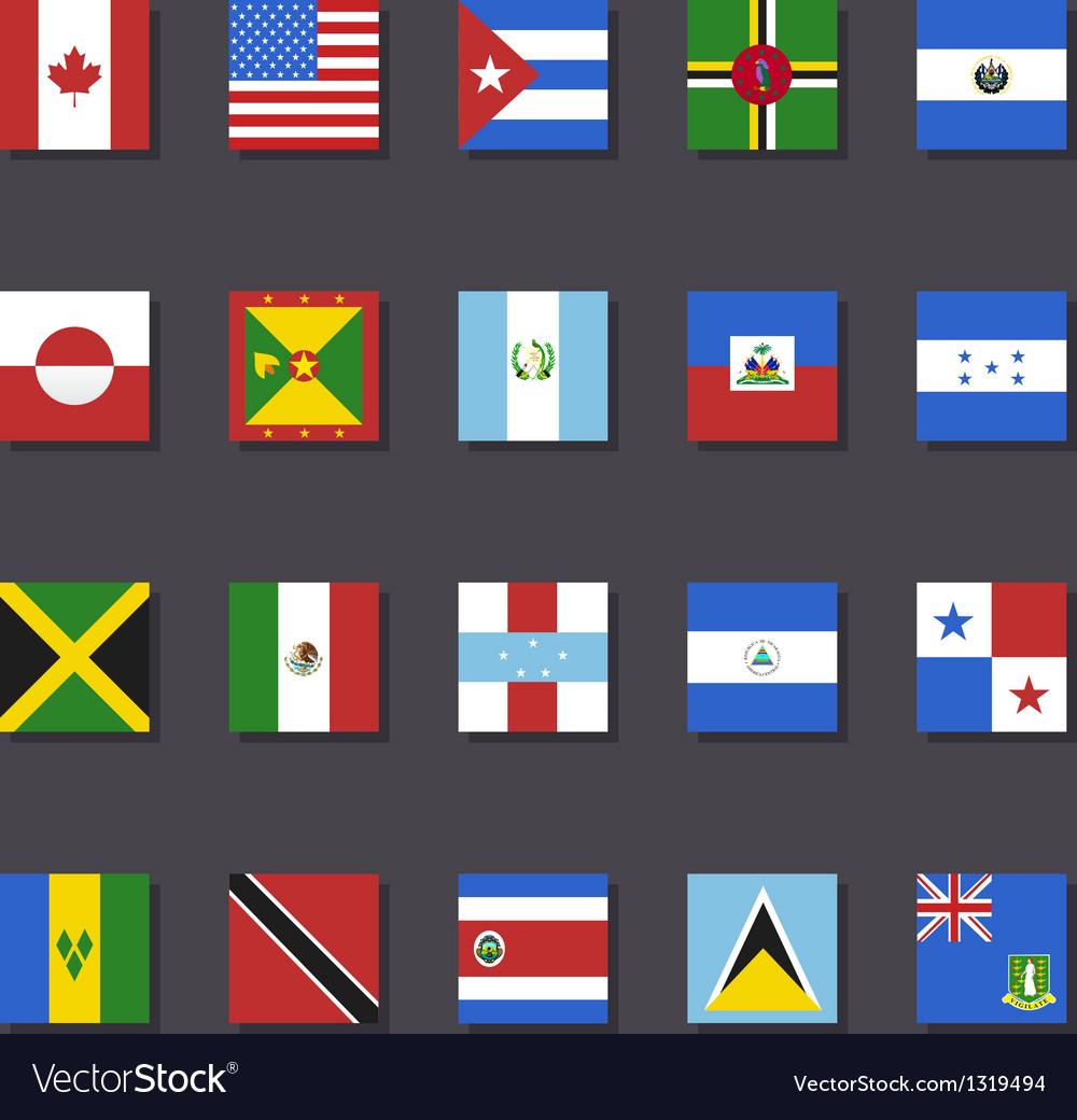 North america flag icon set metro style vector