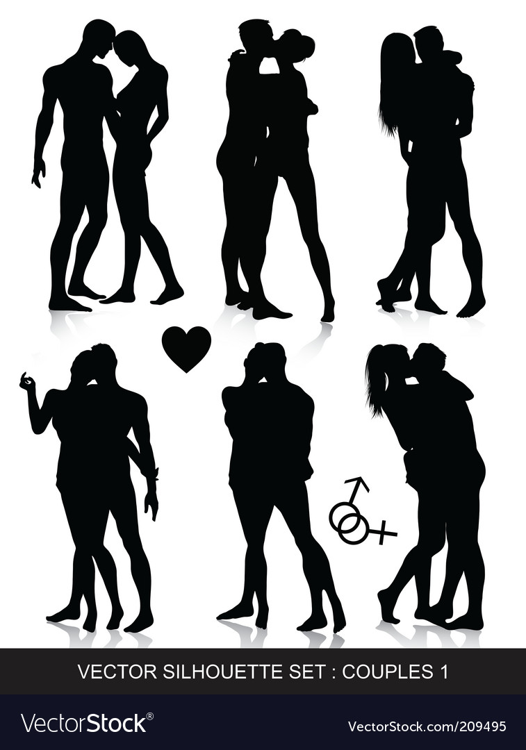 Couple silhouettes set vector