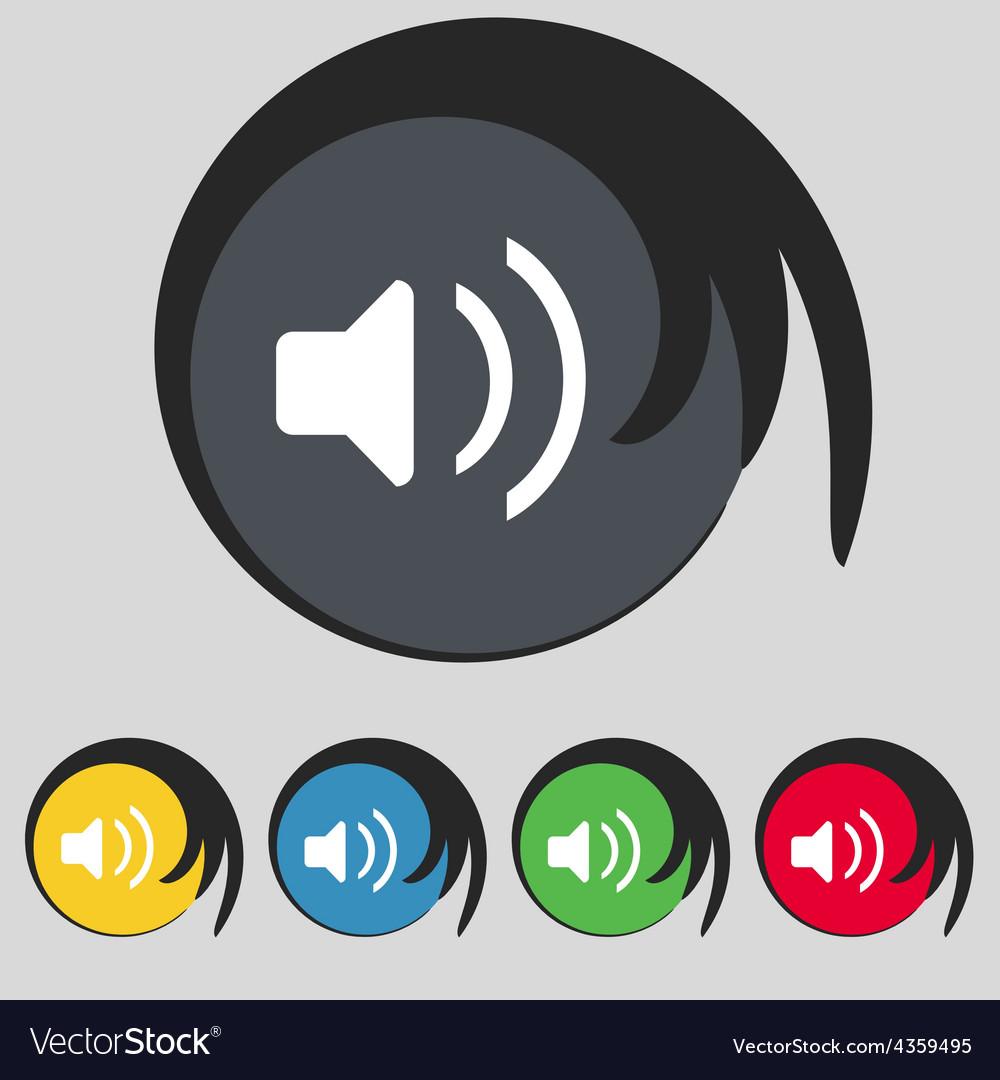 Speaker volume sound icon sign symbol on five vector