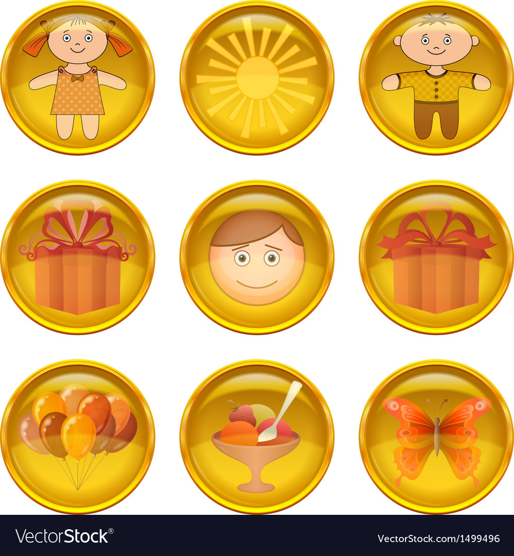 Buttons set childhood vector