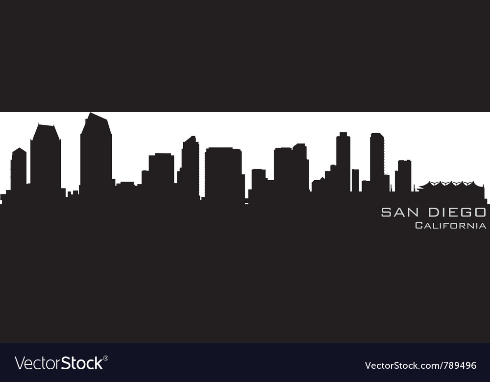 San diego california skyline detailed silhouette vector