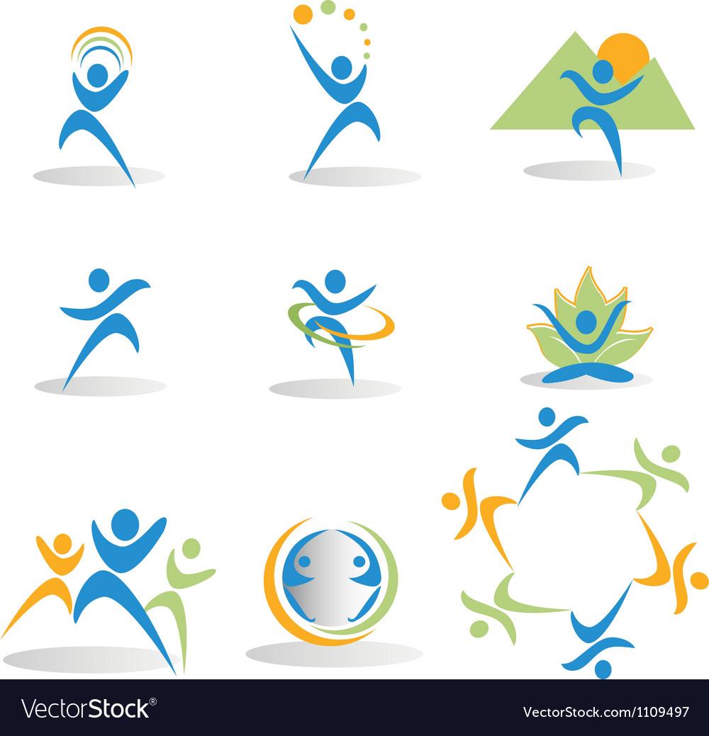 Health nature yoga business social icons logos vector