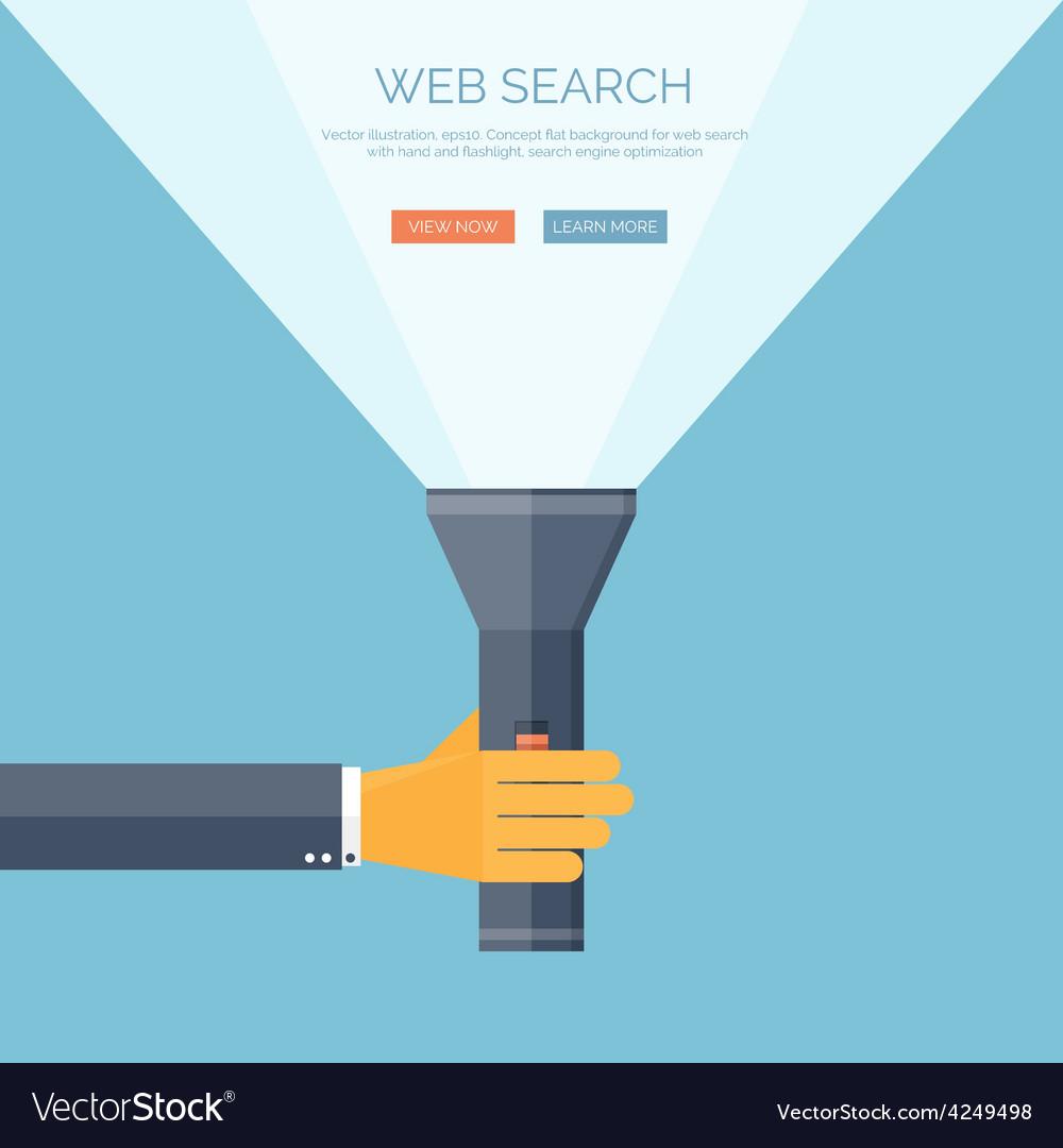Flat flashlight and hand web vector