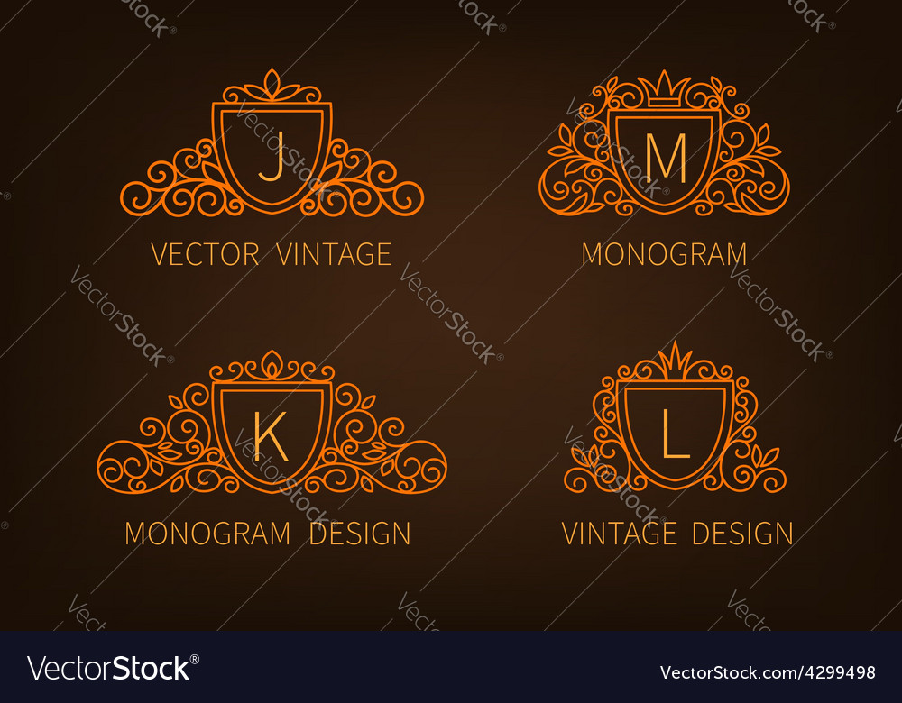 Set outline monograms frame vector