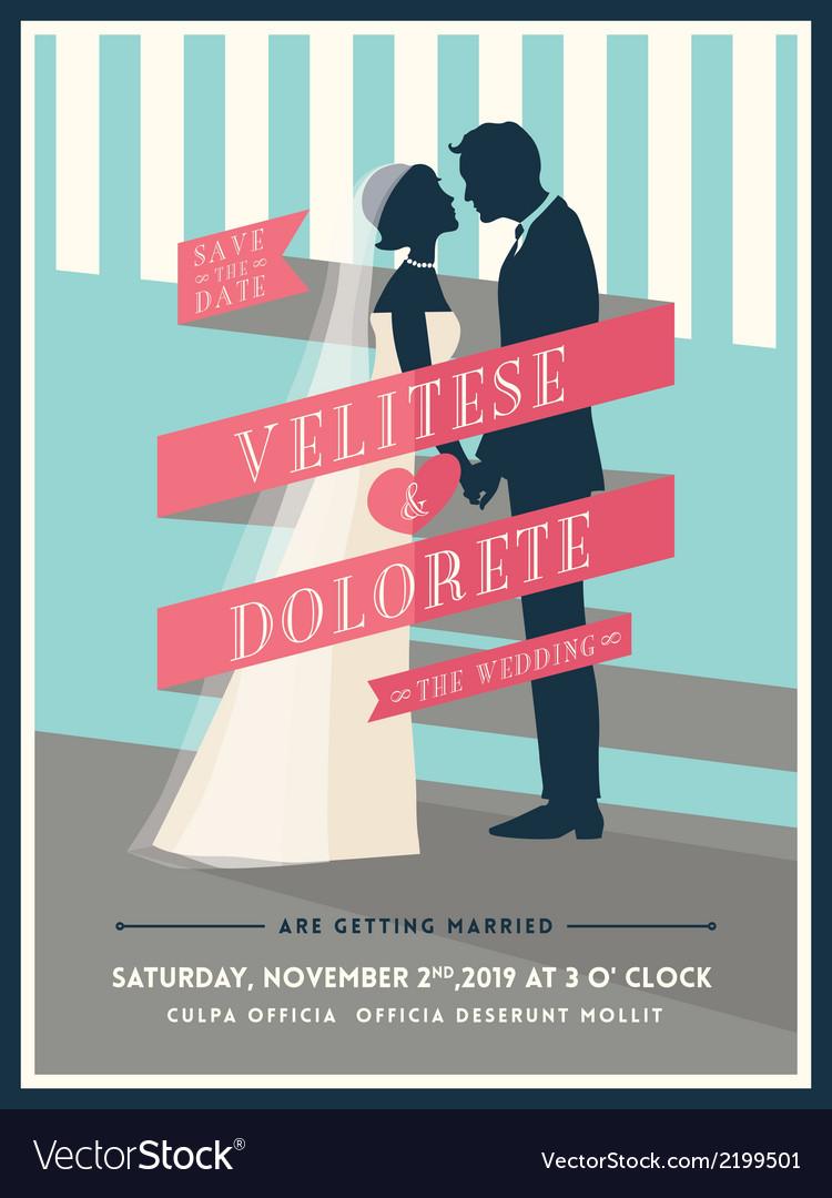 Groom and bride with ribbon wedding invitation vector