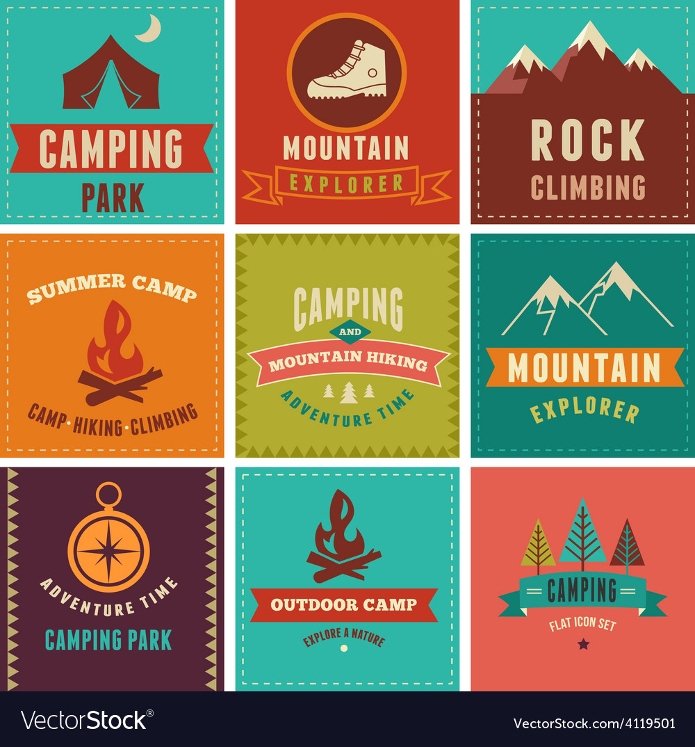 Hiking camp badges icons backgrounds and vector