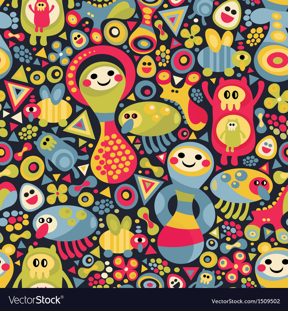 Cute monsters seamless pattern vector