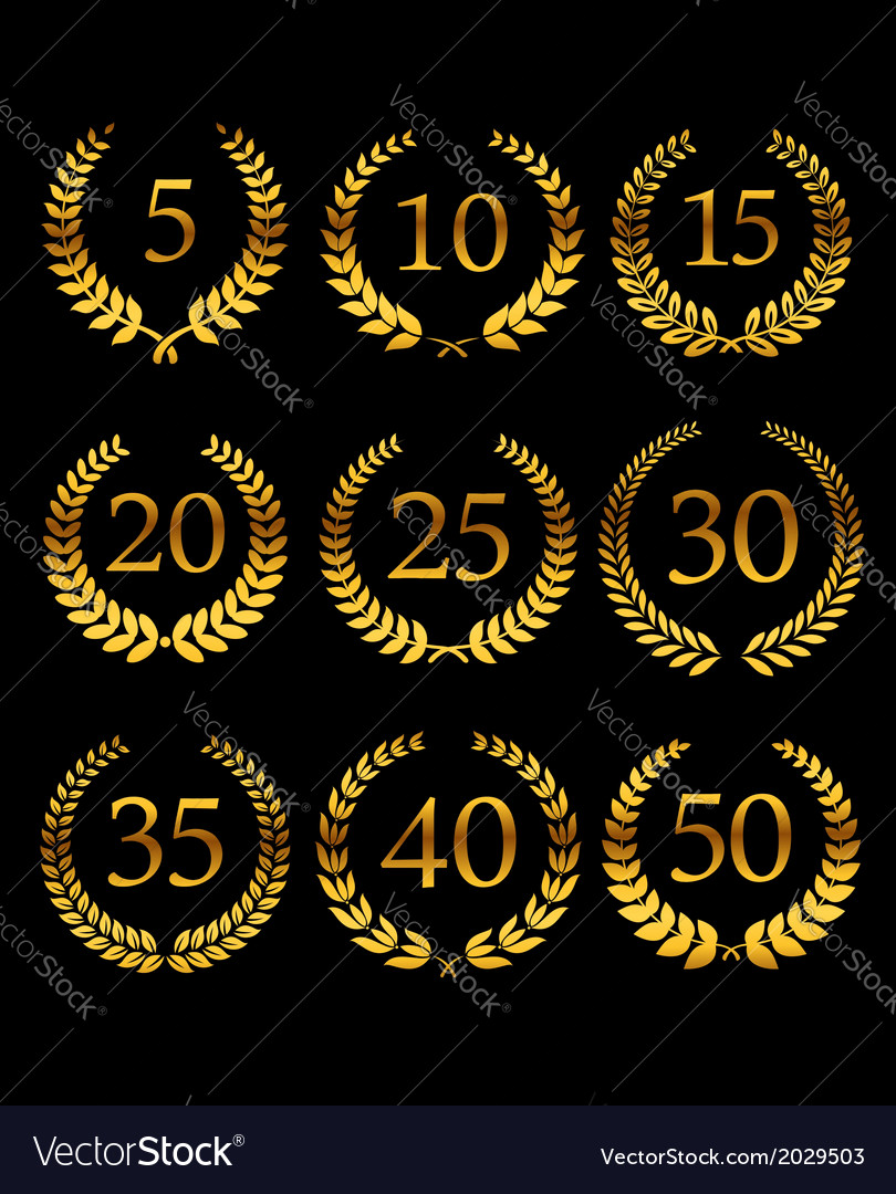 Anniversary golden laurel wreathes vector
