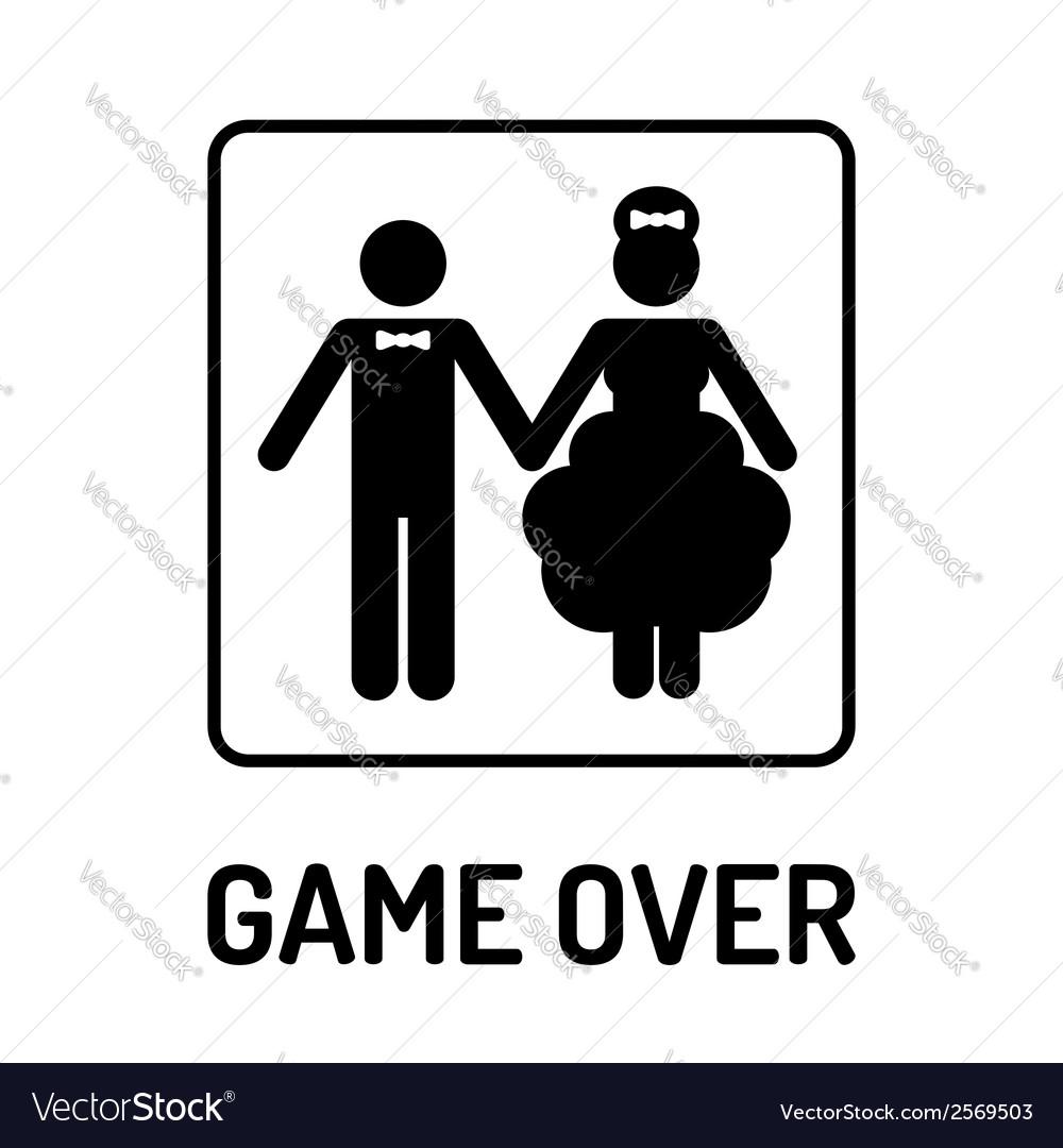 Cartoon funny wedding symbol - game over vector