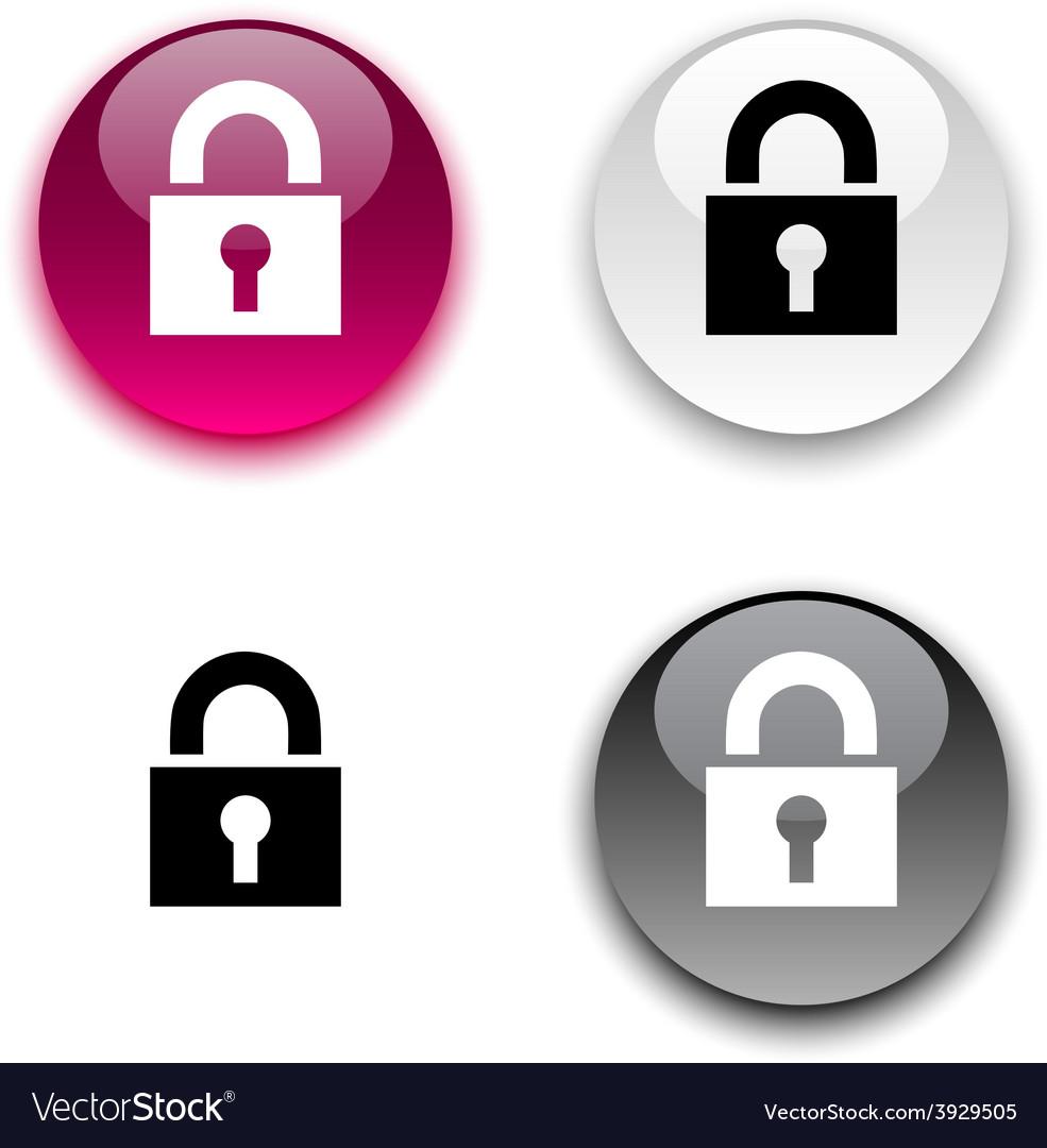 Padlock button vector