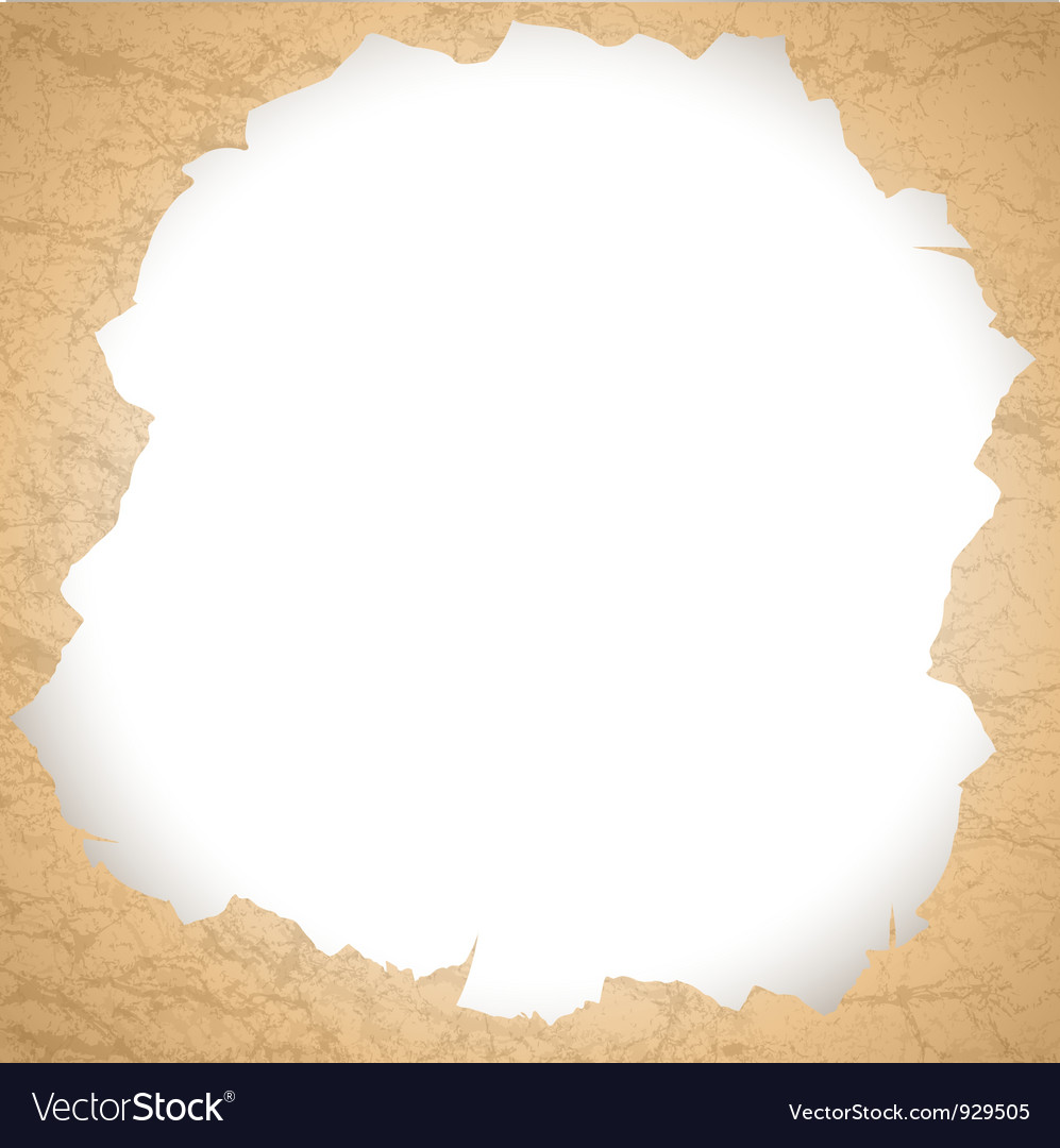 Vintage torn paper hole vector