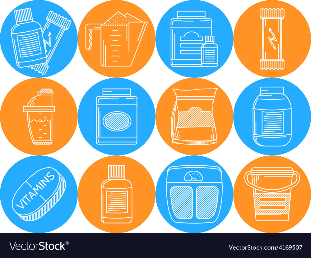 Blue and orange icons for sports nutrition vector
